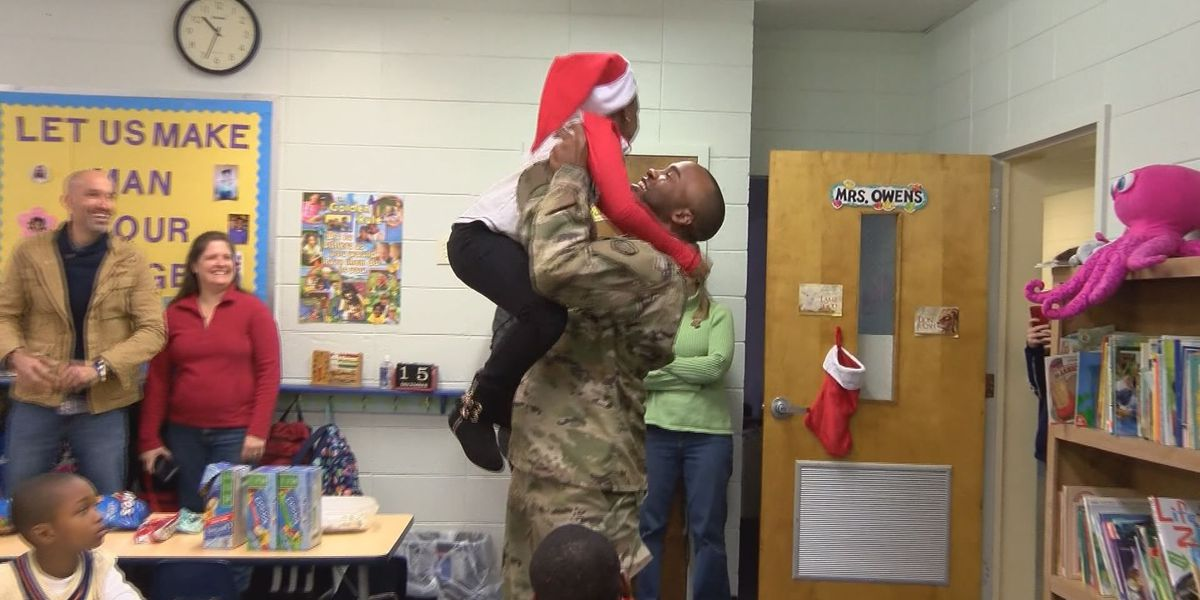 Holiday Homecoming: Sergeant surprises daughter at school
