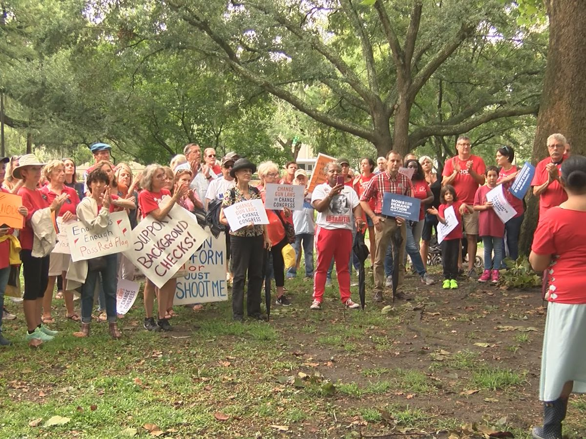 Protestors gather in Forsyth Park to advocate for more stringent gun laws