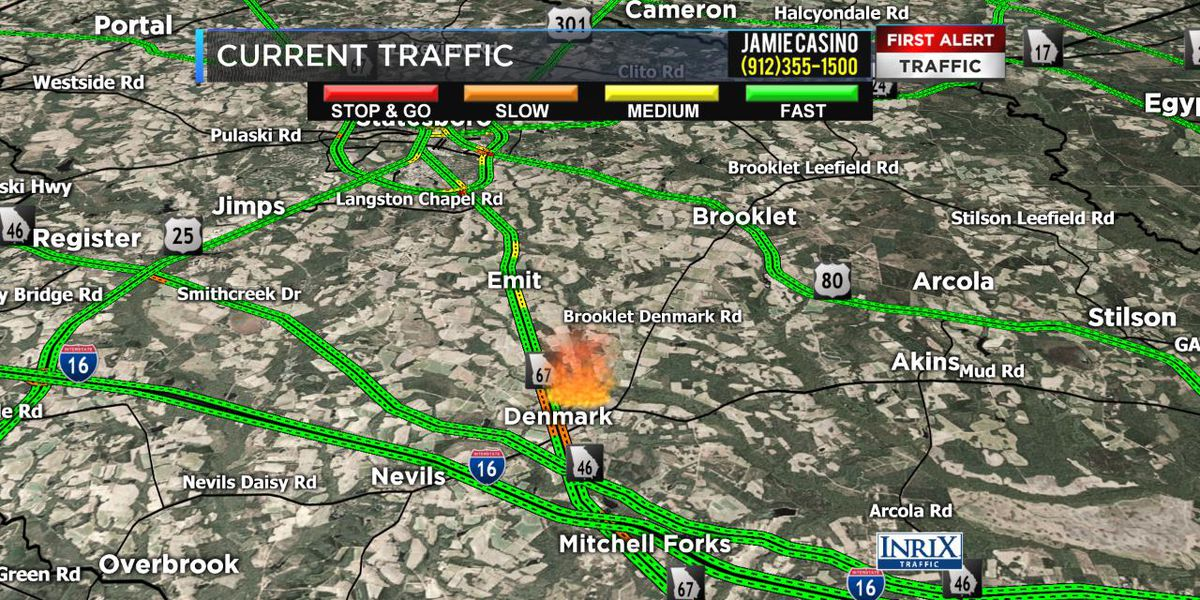 Traffic back to normal after structure fire in area of Hwy 67, Denmark in Bulloch County