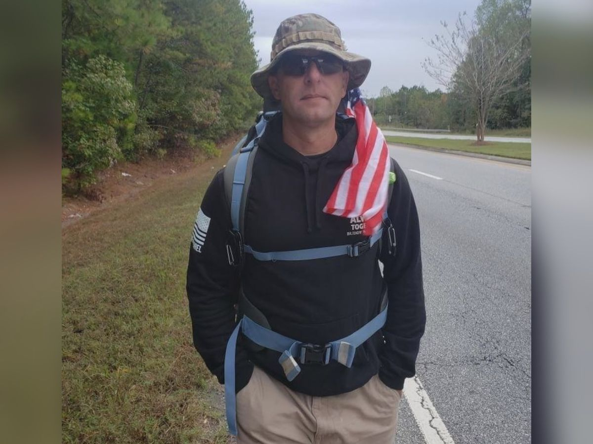 Local man walking cross country to raise money for veterans reaches half-way mark