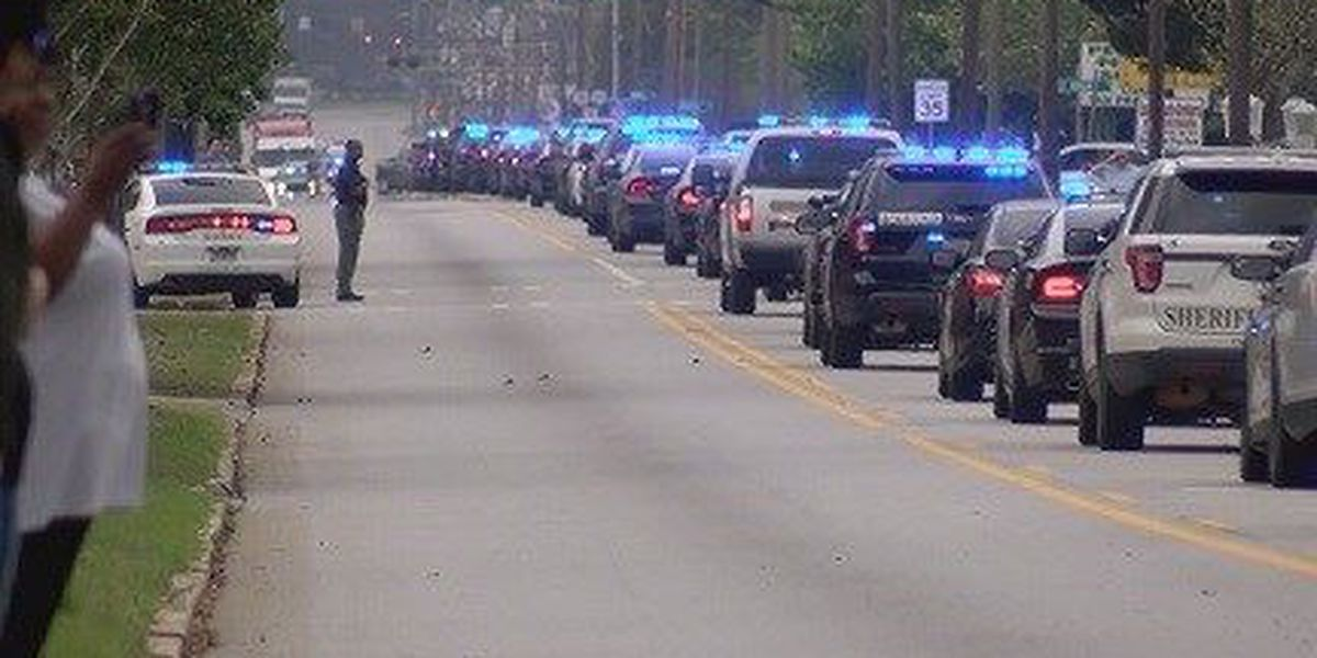 Officers, community line street for slain Statesboro police officer's processional