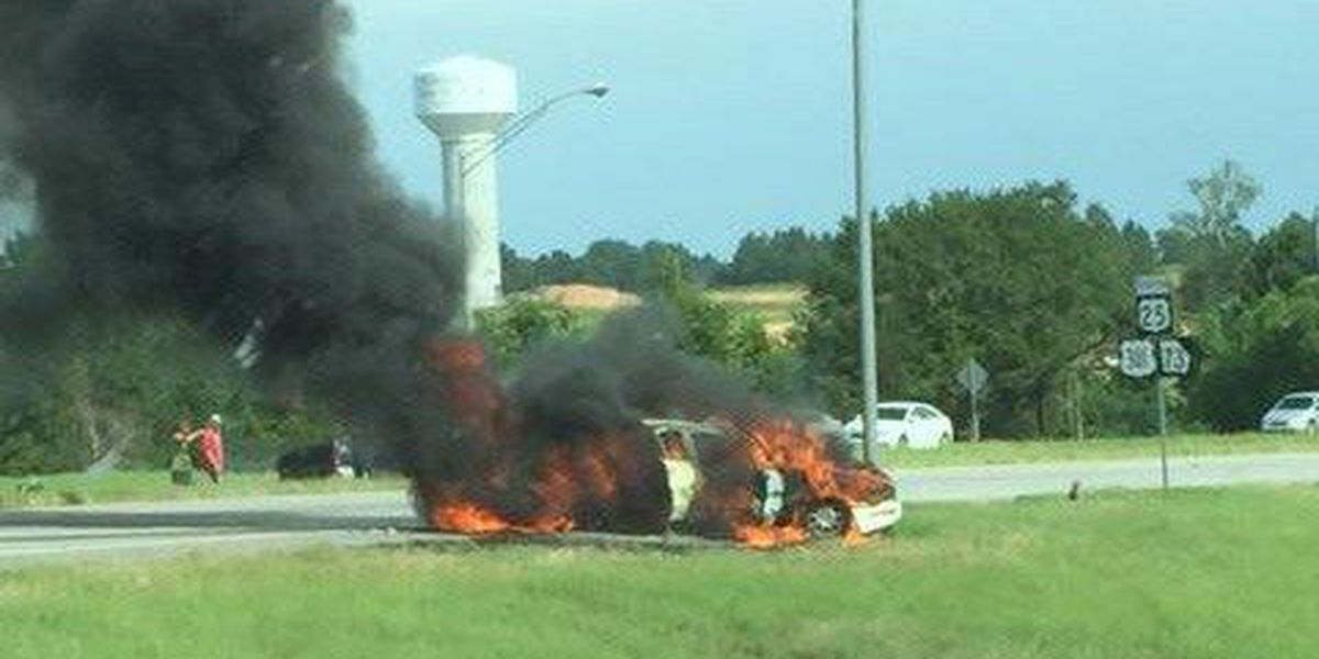 One killed, one injured in car fire at EB I-16 at Hwy. 301 in Bulloch County