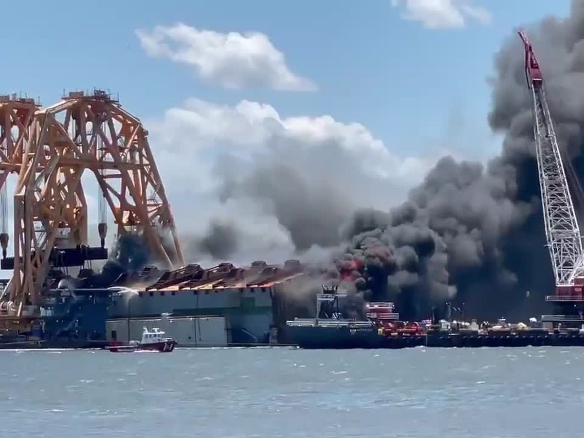 Golden Ray wreck inspected after fire as crews prepare to move forward with removal