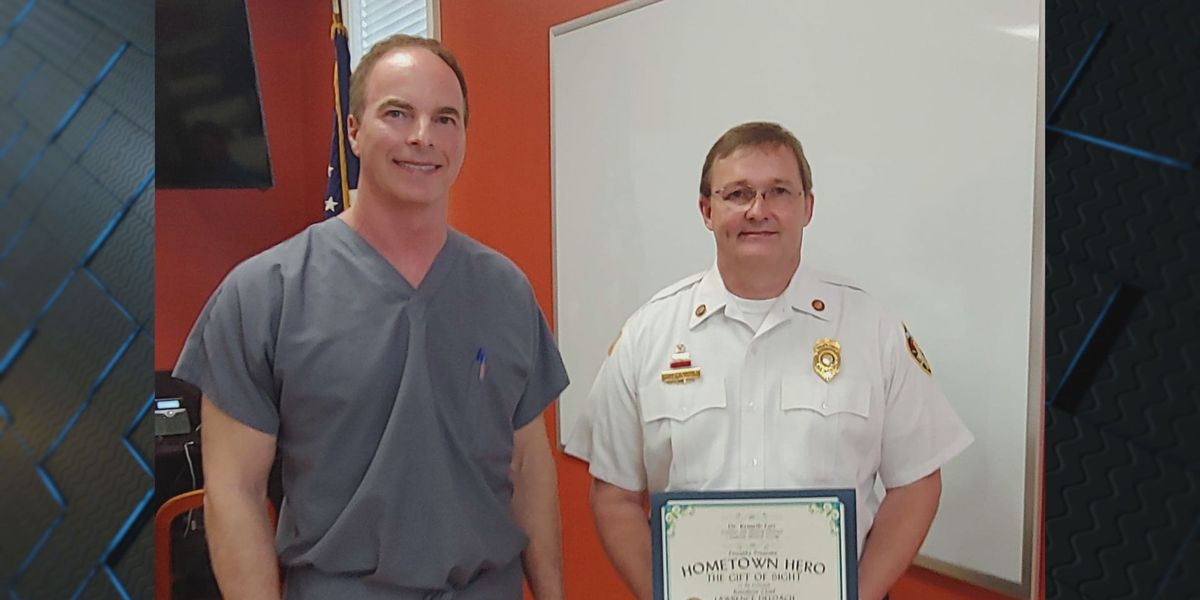 """Local firefighter awarded """"Gift of Sight"""" by Sungate Medical Group"""