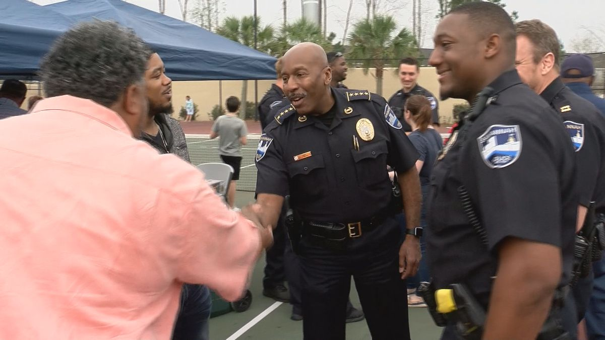 Savannah Police hold roll call in the streets