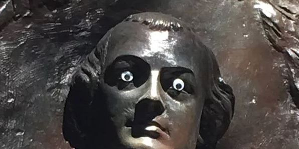 City looking for person who put 'googly eyes' on statue; community is not impressed