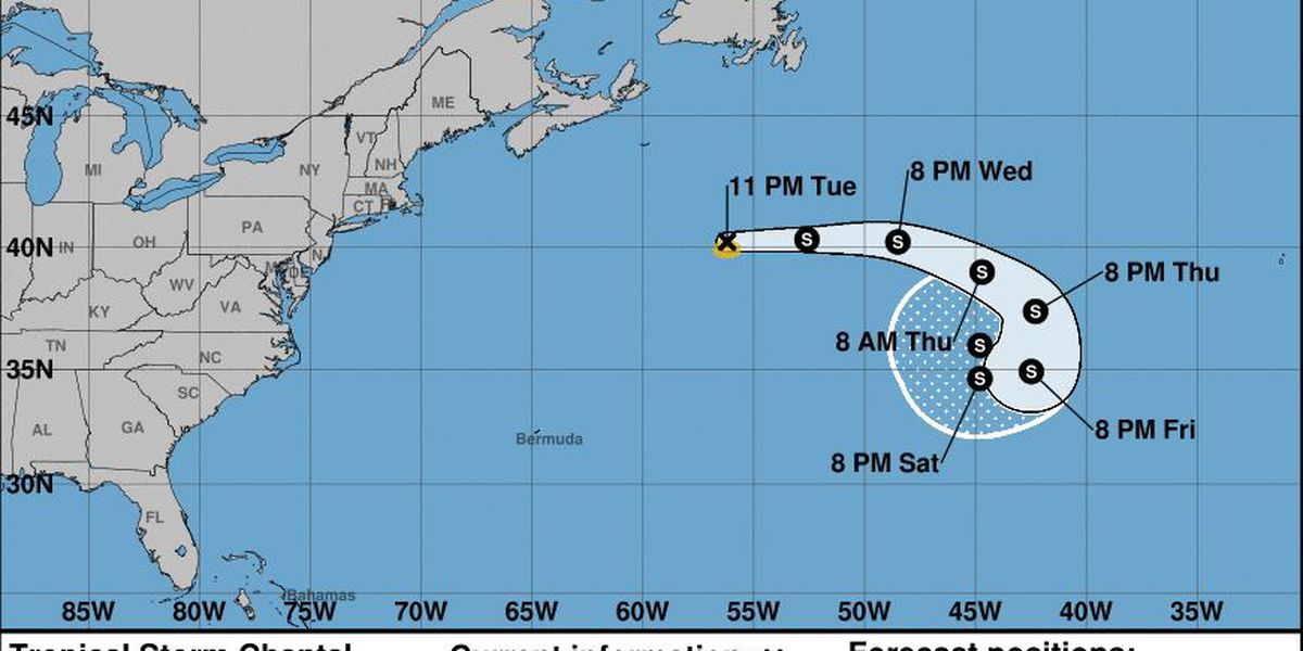 Tropical Storm Chantal forms over north Atlantic