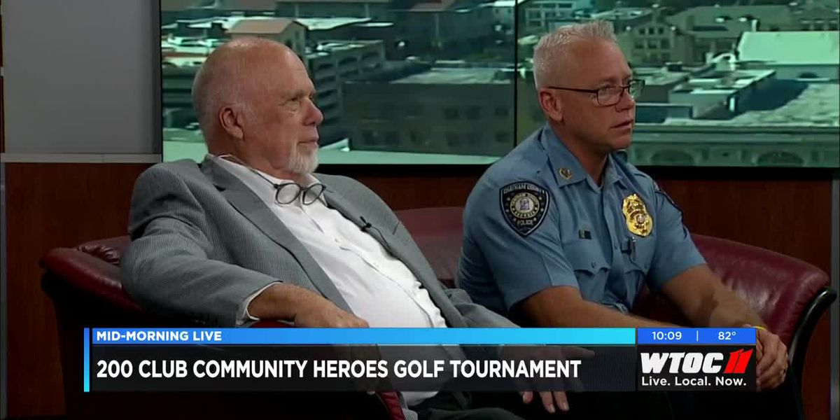 CCPD Chief Hadley and Michael Plummer announce 200 club's Community Heroes Golf Tournament.