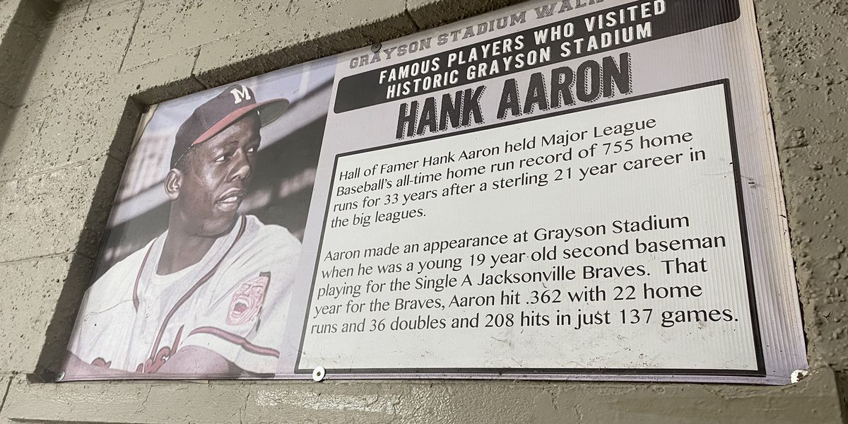 Hank Aaron took the field at Historic Grayson Stadium
