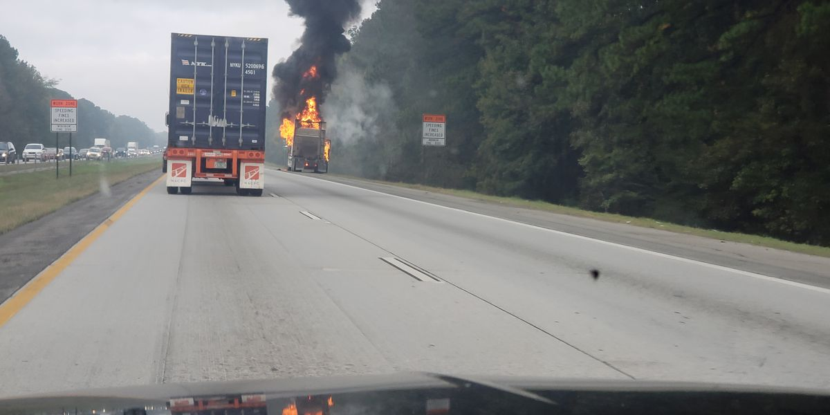 One lane reopened after semi catches fire on I-16 near Dean Forest Road