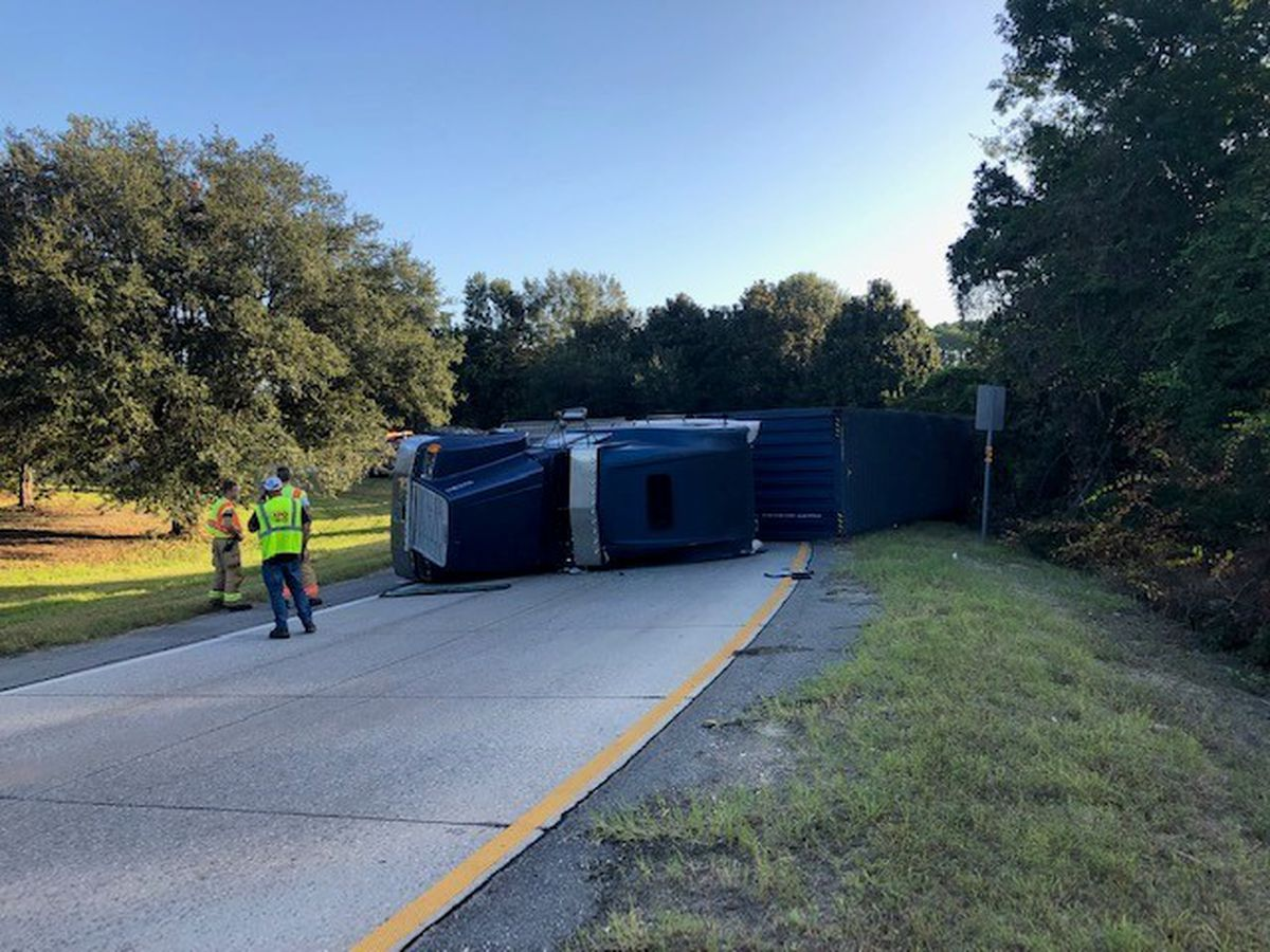 Overturned semi cleared at I-95, I-16