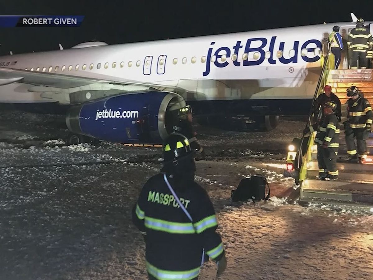 Savannah-to-Boston flight slides off runway in icy conditions