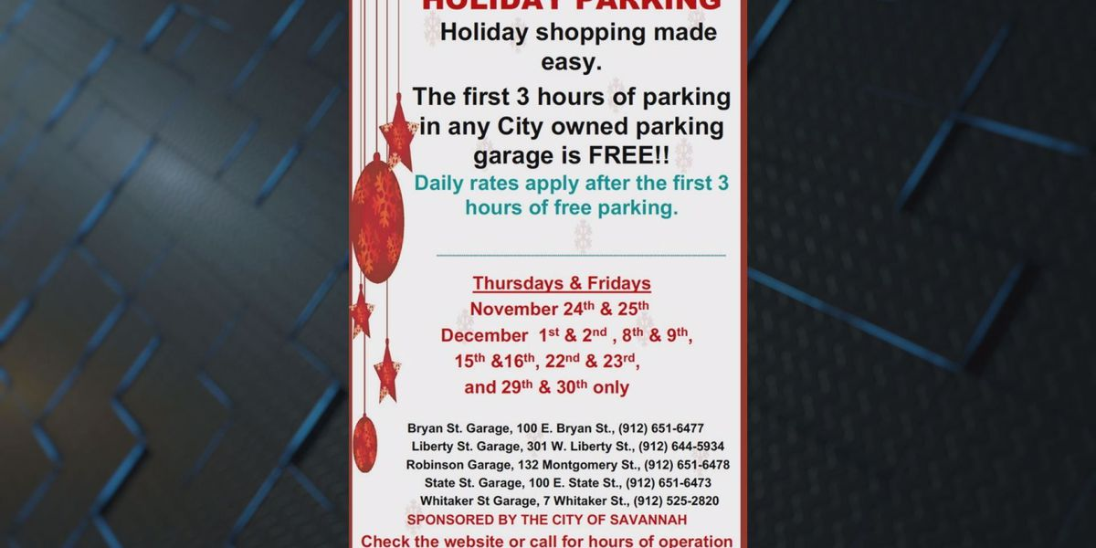 City of Savannah offering parking special during the holidays