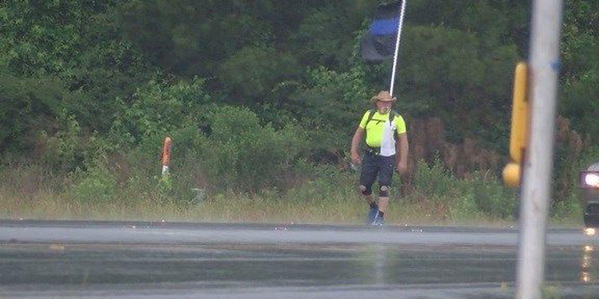 Man walks length of Bulloch Co. in support of law enforcement