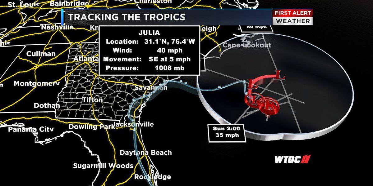 Tropical Storm Julia keeping strength off coast of Carolinas