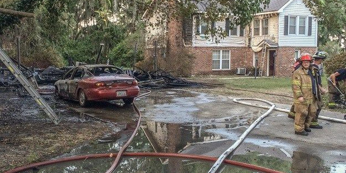 Garage destroyed in fire at residence on Rose Dhu Road
