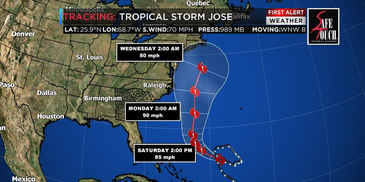 Jose expected to become a hurricane again in the Atlantic