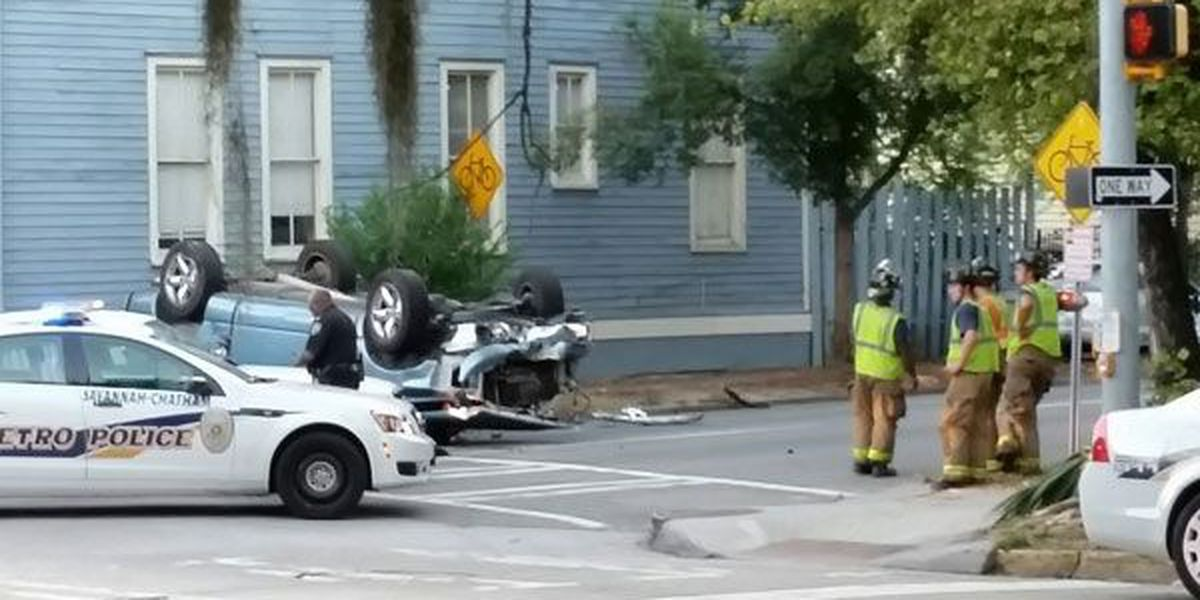 Overturned vehicle cleared on Anderson at Abercorn streets
