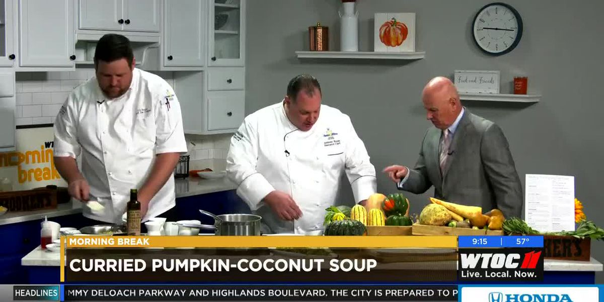 Westin Savannah Harbor: Making pumpkin-coconut soup, pumpkin and ricotta ravioli