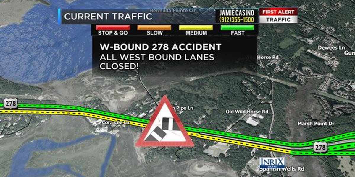 Wreck cleared on Hwy 278 at Squire Pope Rd in Hilton Head. Westbound lanes back open.