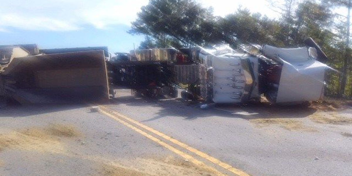 Semi carrying heavy equipment overturns on Hwy 301 in Evans Co.