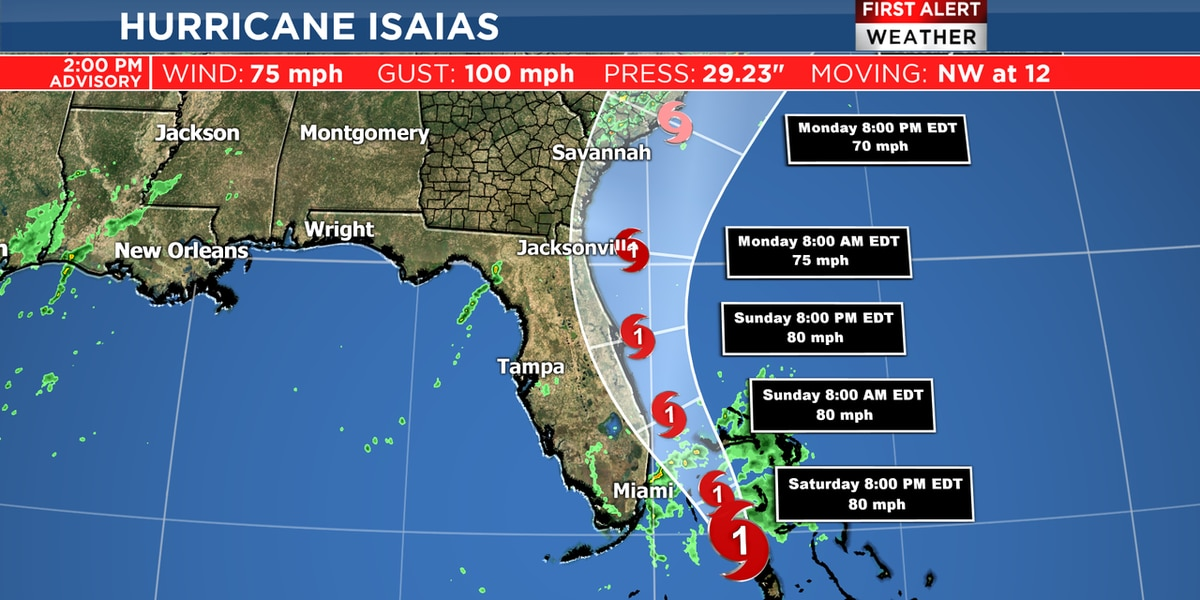 Latest advisory for Hurricane Isaias