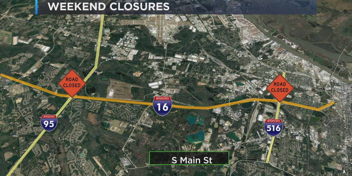 Road closures for I-16/I-95 improvement project on Monday