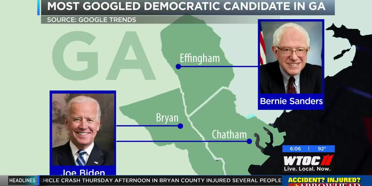 County by county breakdown of top googled Democratic candidate