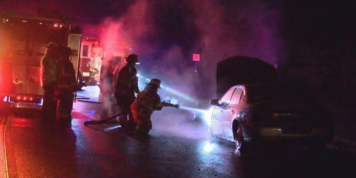 Car catches fire on exit ramp of I-16 WB and I-95 NB