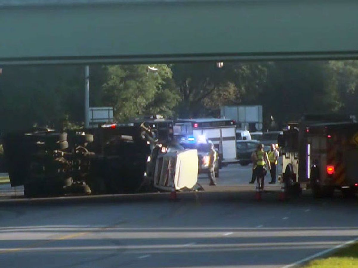 Overturned dump truck blocking lanes of Hwy 170 under Hwy 278 overpass in Okatie