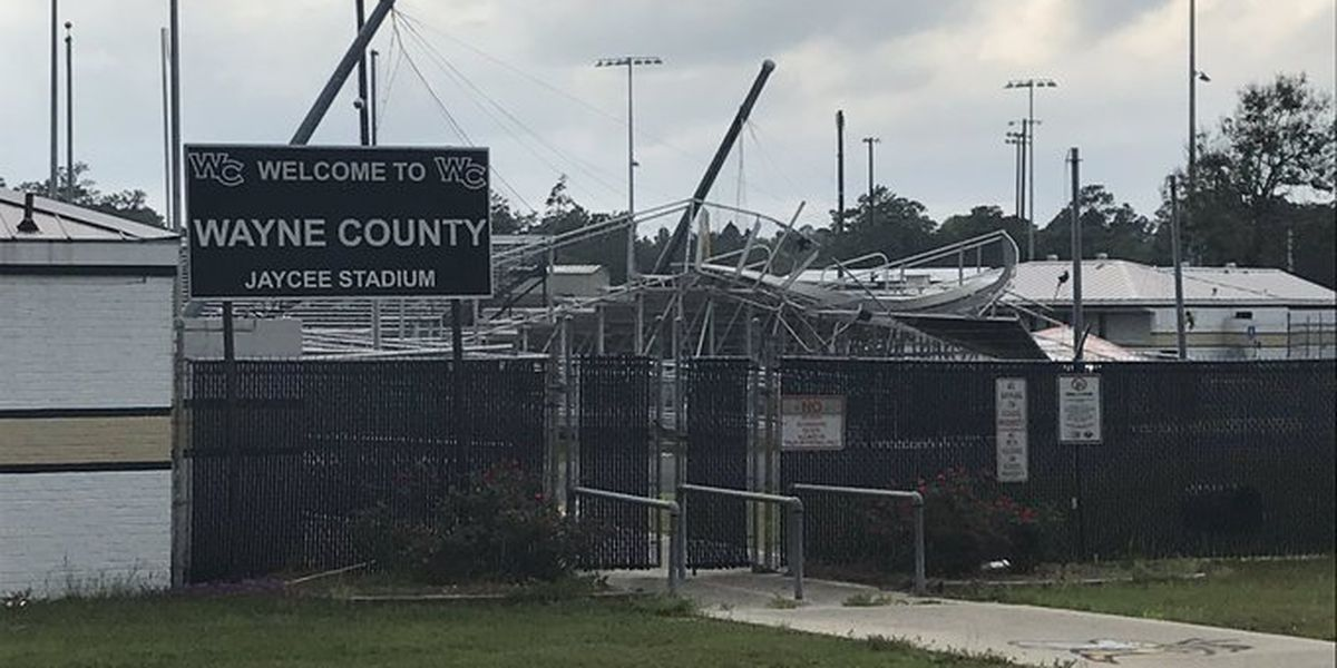 Wayne County's football stadium damaged by Monday's storm