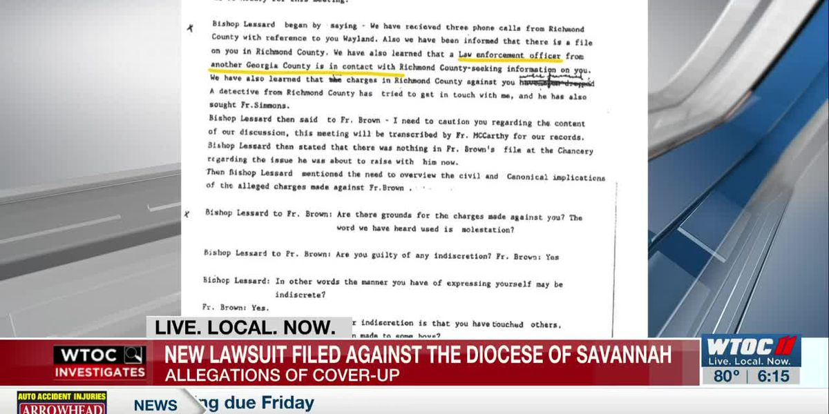 New lawsuit claims Diocese of Savannah covered up allegations of child molestation
