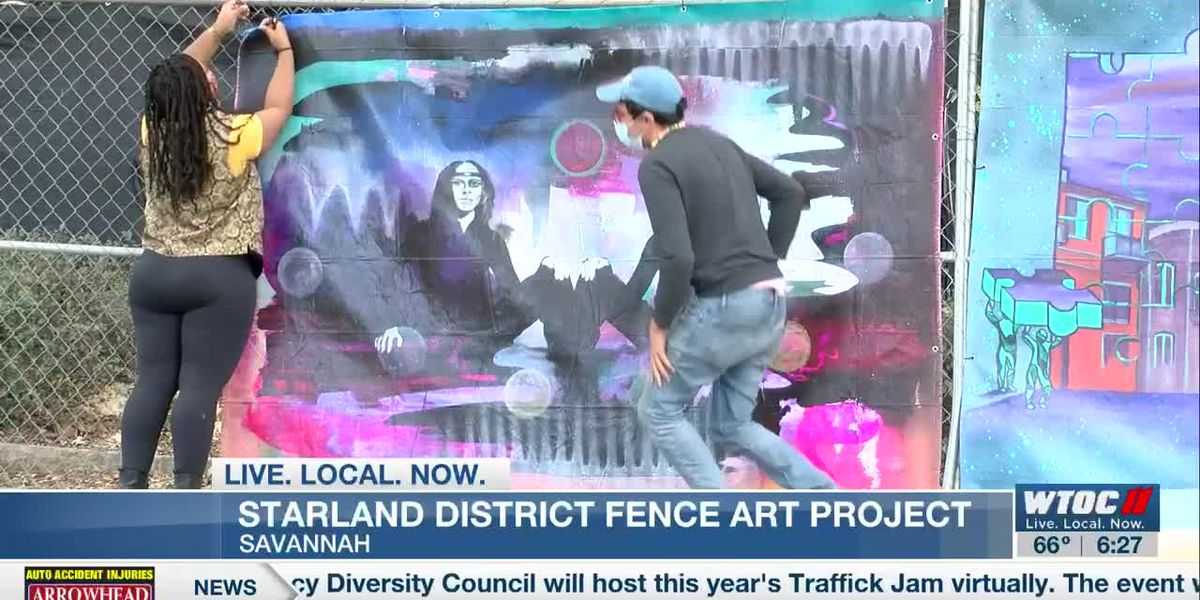 Fence Art Project artists hang work on construction fencing