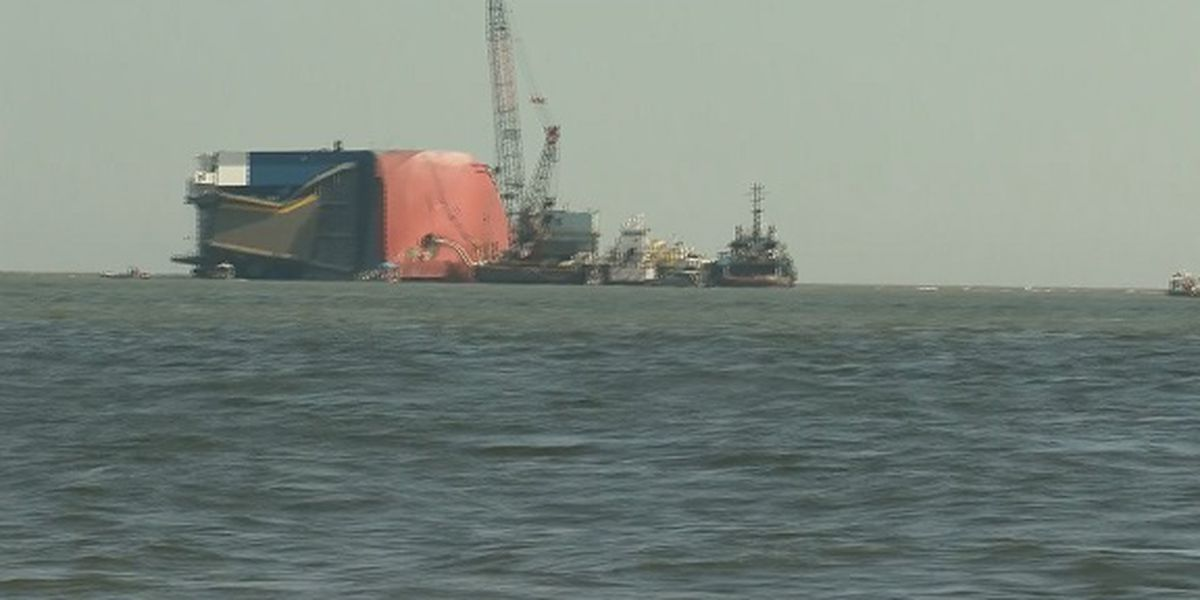 Crews say it could take months to remove capsized ship from St. Simons Sound