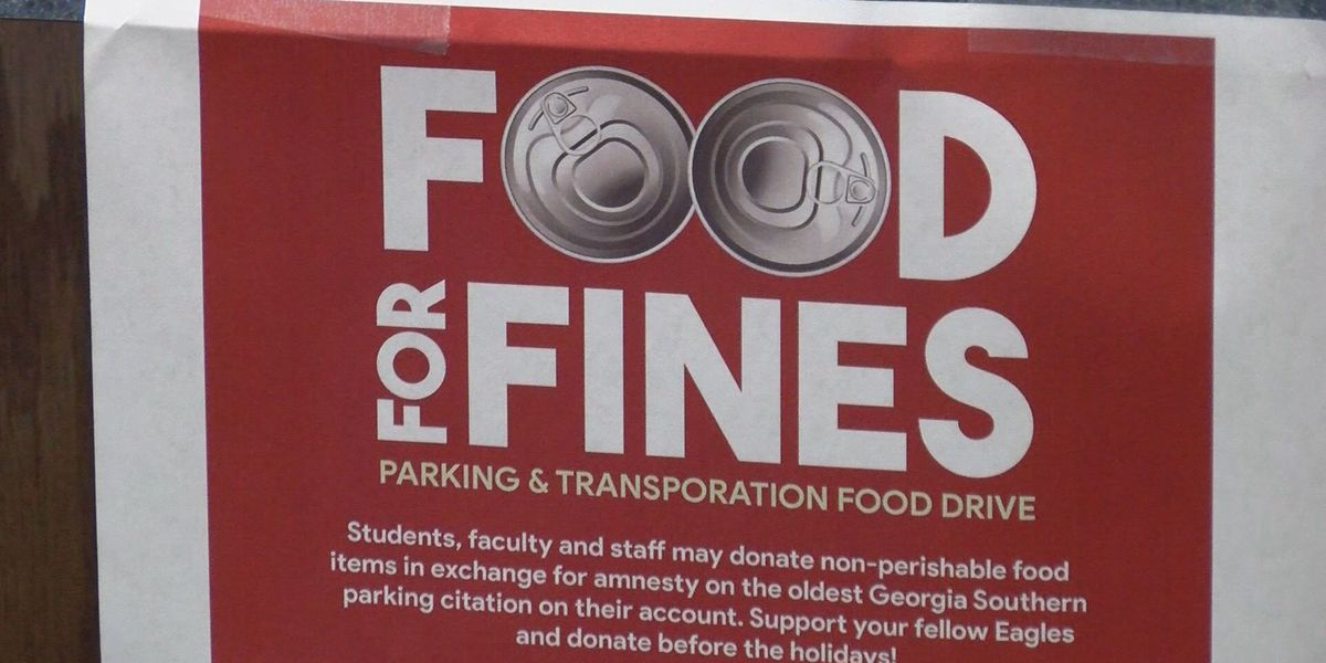Georgia Southern students donating canned goods to get rid of parking tickets