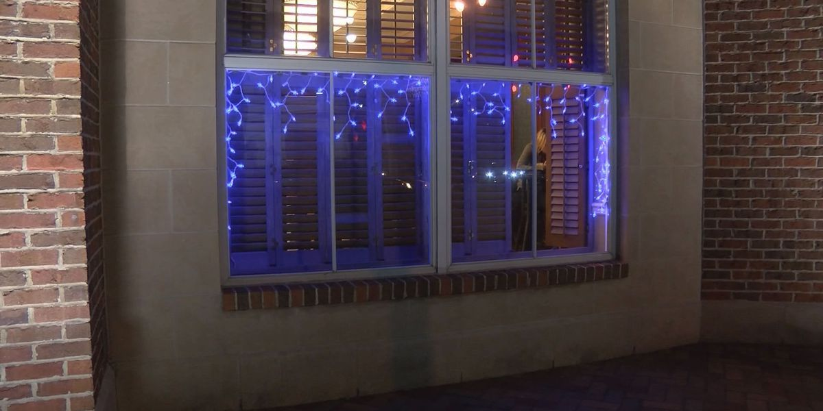 Blue holiday lights in downtown Savannah show support for law enforcement