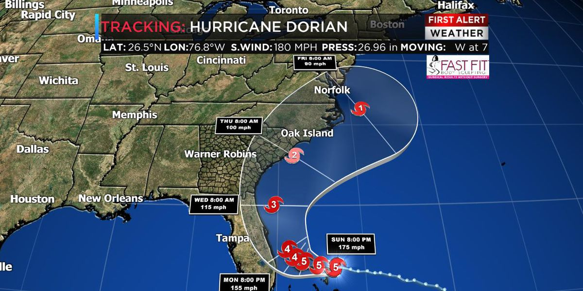 Tracking Dorian: Currently a Category 5, slowing over the Bahamas