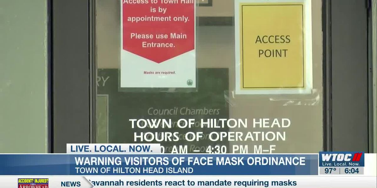 Town of Hilton Head Island warning visitors of face mask ordinance