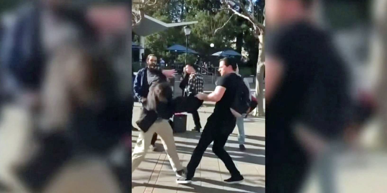 GRAPHIC: Conservative activist punched on UC Berkeley campus