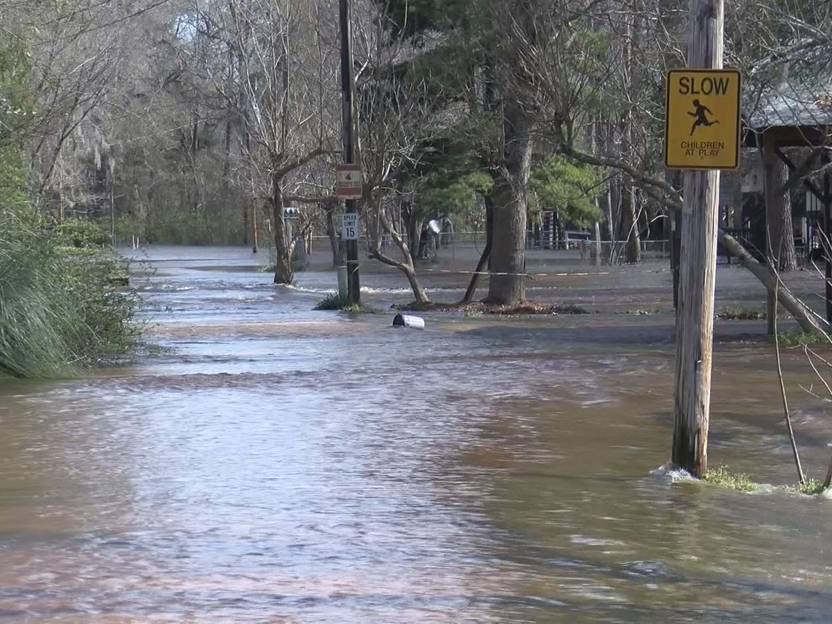 Ogeechee River causing flooding, washed out roads