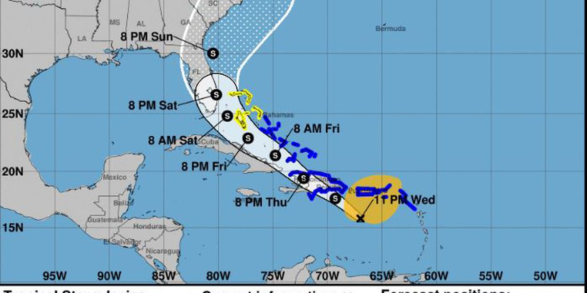 Tropical Storm Isaias forms south of Puerto Rico
