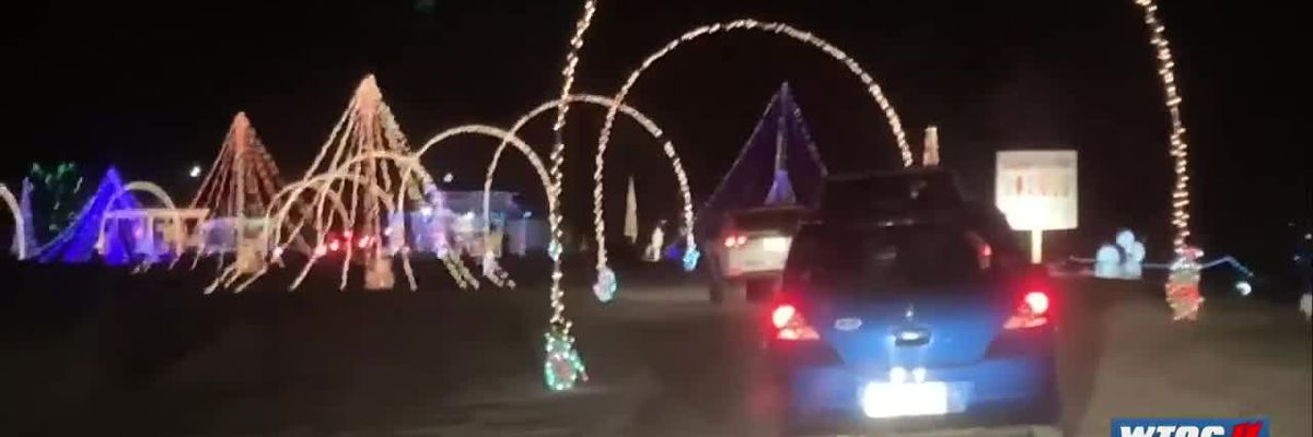 Opening night for TMT Farms light display; collecting canned goods & toys for the needy