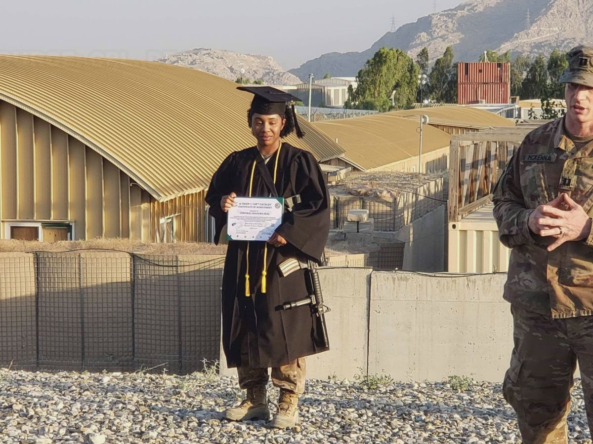 Savannah police officer celebrates graduation while in Afghanistan