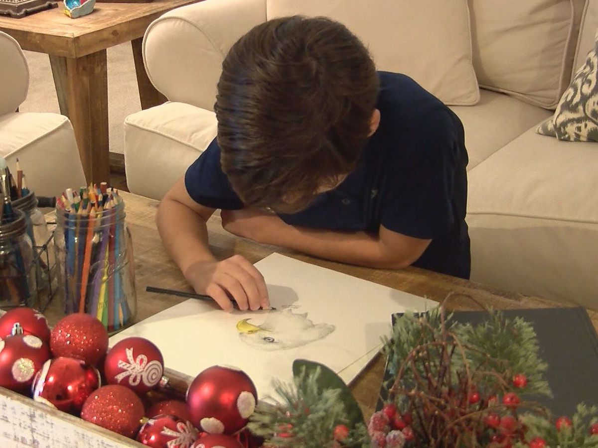 Young Statesboro artist creates Christmas cards for charity
