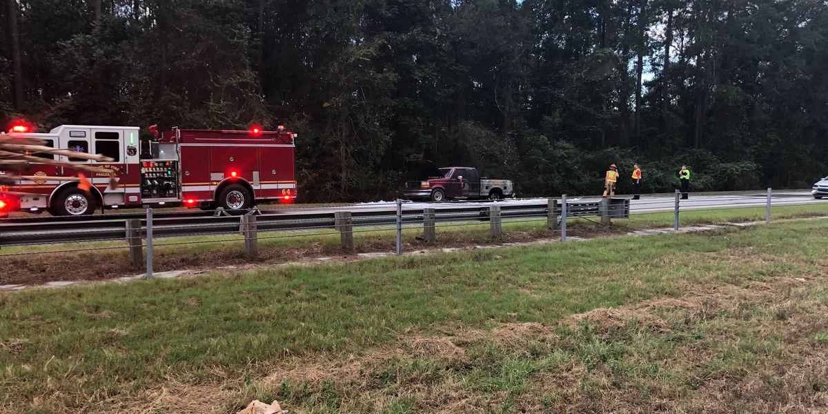 Truck fire briefly closes eastbound Interstate 16 near Interstate 95