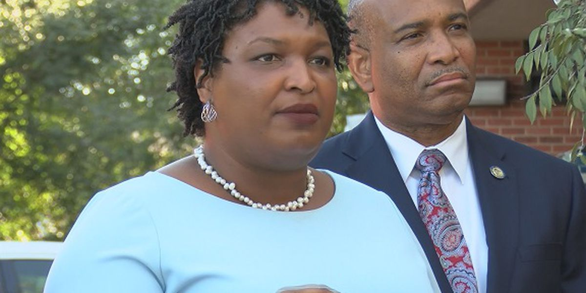 Democratic candidate Stacey Abrams campaigning in Savannah