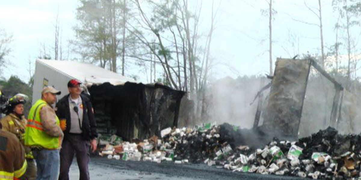 Crews clean up after semi hauling paper catches fire