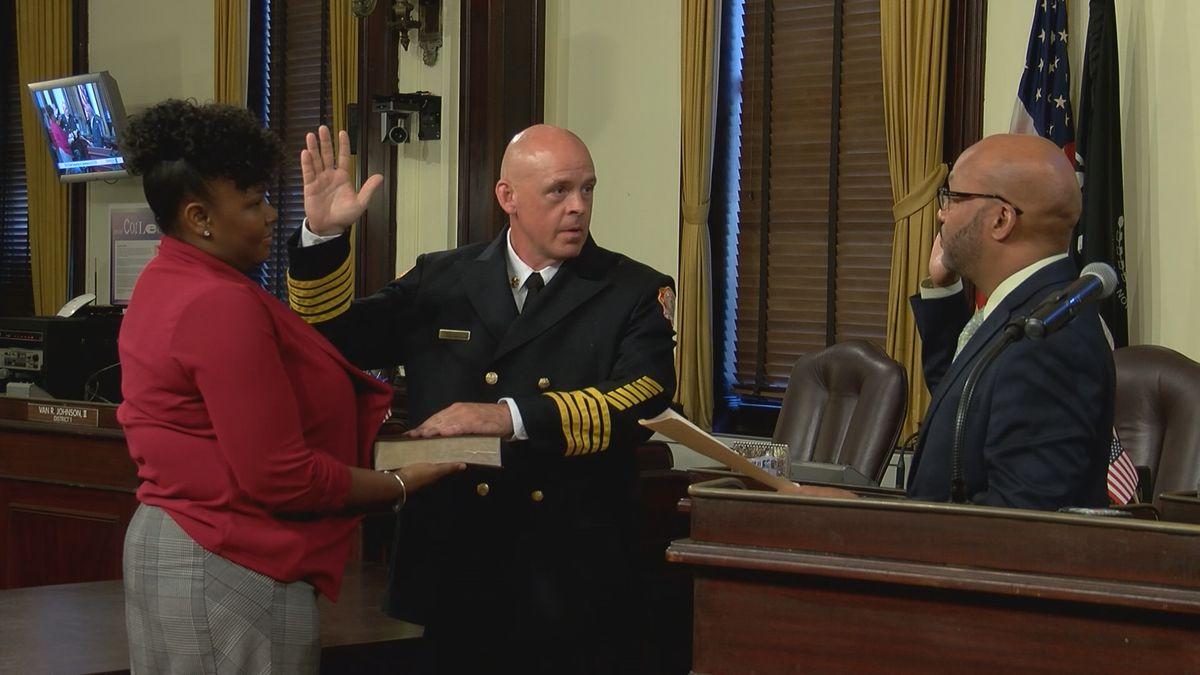 Savannah Fire Rescue Chief Derik Minard sworn in at City Hall
