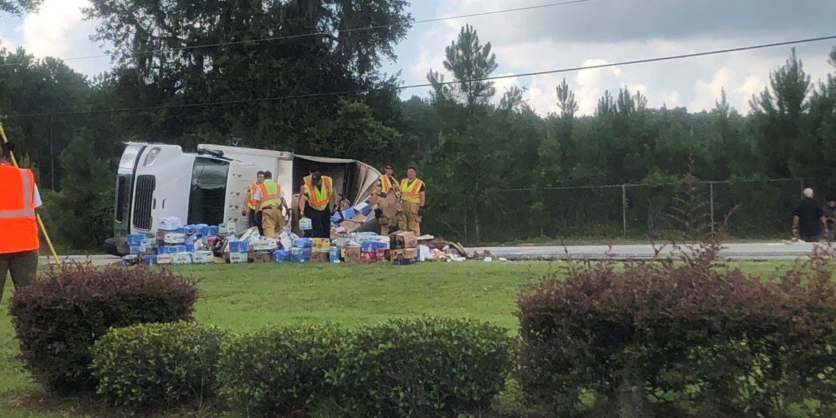 Truck carrying beer overturns at Pine Barren Road, Pooler Parkway
