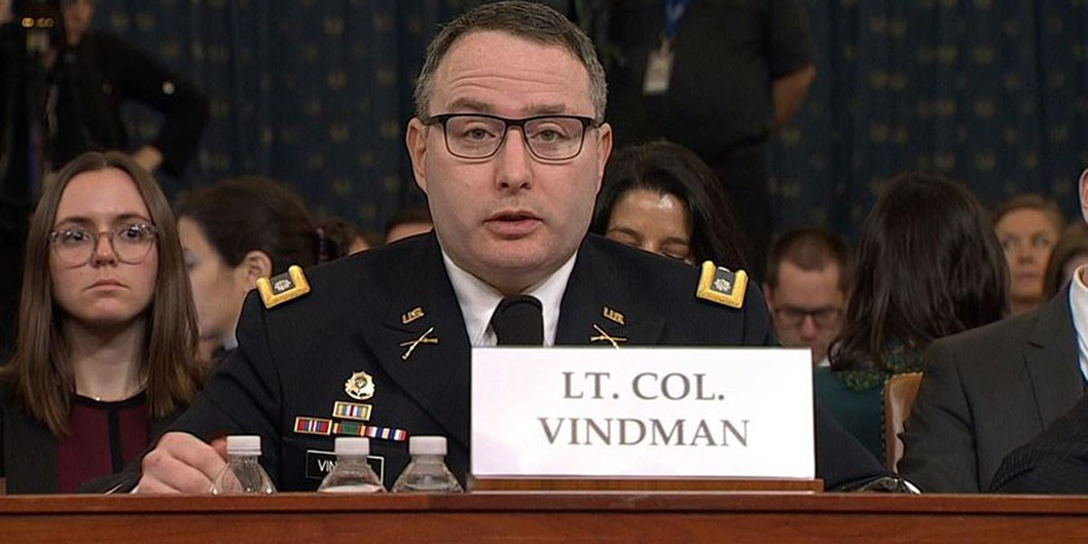 Impeachment witness Vindman retiring from Army, lawyer blames Trump